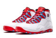 """46512e98bd7d6 Air Jordan 10 Retro """"CHI"""" White University Blue-Black-Bright Crimson"""