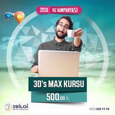 3D's Max Kursu 2016 Yaz Kampanyaları çerçevesinde sadece 500 TL Siz de bu fırsattan yararlanabilirsiniz. 0312 232 11 12 numaralı telefonu arayabilir ya da linki http://www.3bilgi.com/kurslar/bilgisayar-kurslari/meb-3ds-max-kursu.html tıklayarak detaylı bilgi alabilirsiniz. #3bilgideyaz #gelecekiçin3bilgi