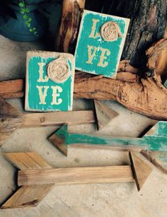 Shabby chic burlap love sign & arrows, scrap wood, homemade turquoise chalk paint, stencil, distressed, chocolate glaze, HHH & Co. found at Vintage Soul & Sweet Tee's