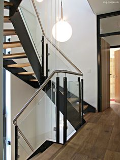 made by smg-treppen. Glass Railing, Stair Railing, Modern Stairs, Staircase Design, Architectural Elements, Construction, Decoration, Cube, Interior Design