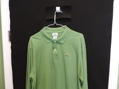 Lacoste Authentic Designer Solid Green Long Sleeve Mesh Polo Shirt SZ 6 Mint  #Lacoste #PoloRugby