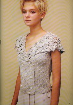"""Блуза с воротником """"Ирландским кружевом""""....mooi vest met diagram"""