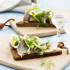 Tasty #Danish smørrebrød with herring, leeks, lemon and dild. #danishfood #smørrebrød