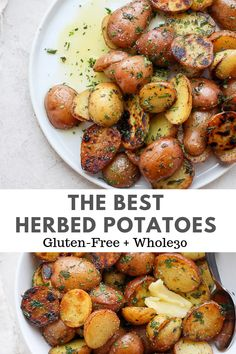 Easy Herbed Potatoes - an easy, delicious herbed potatoes recipe that uses a variety of fresh herbs tossed with sauteed baby potatoes! Always a hit! Whole 30 Potatoes, Baby Potatoes, Whole New Potatoes Recipe, Herbed Potatoes, Skillet Potatoes, Whole Food Recipes, Dinner Recipes, Healthy Recipes, Recipes