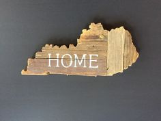 Customizable Wooden State Sign - Hand Painted on Antique Reclaimed Wood - Country Chic Decor - Kentucky by MoonshineAndMimosas on Etsy https://www.etsy.com/listing/223457531/customizable-wooden-state-sign-hand