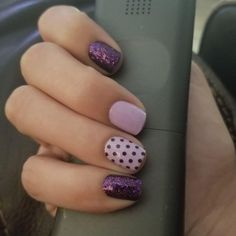 Color Street nail strips are easy to use and last days. Try this look with Fashion Prague-er, Polka-Dot-Com and Ibiza Nights Short Nail Designs, Colorful Nail Designs, Purple Nail Designs, Nail Color Combos, Nail Colors, Stylish Nails, Trendy Nails, Get Nails, Hair And Nails