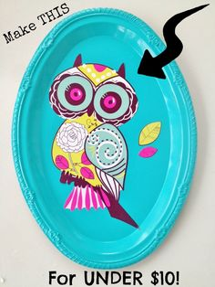 Beautiful frugal Mother's Day Owl Plaque Home decor gift - easy for the kids to make!