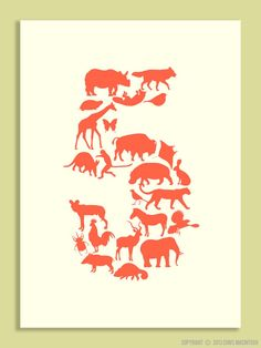 Children's Birthday Card - Animal Numbers / Animal silhouettes / Ages 1 to 5 - animal greeting card