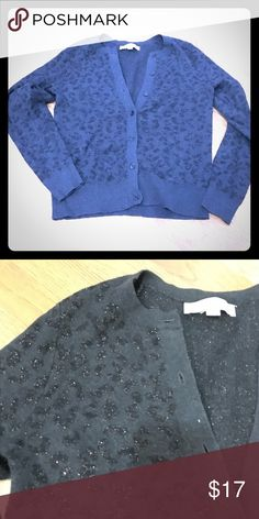 Loft Cheetah print cardigan Loft cheetah print button down cardigan- very dark gray LOFT Sweaters Cardigans