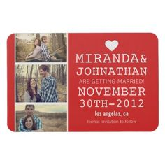 heart red save the date magnets #wedding