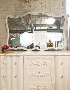 Painted Cottage Chic Shabby White French Mirror by paintedcottages, $195.00