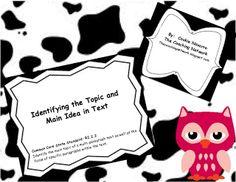Identify topic and main idea for the primary grades