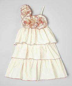 Look at this Little Miss Fashion Ivory & Red Tiered Floral Dress - Infant, Toddler & Girls on #zulily today!