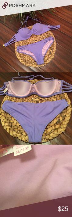 VICTORIA SECRET BIKINI SET 32B bandeau strappy back top with XS strappy front bottom Victoria's Secret Swim Bikinis