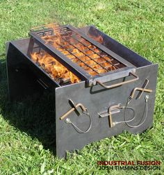 Visit the post for more. Homemade Grill, Diy Grill, Fire Cooking, Outdoor Cooking, Fire Pit Grill, Fire Pits, Wood Smokers, Metal Fire Pit, Bbq Set