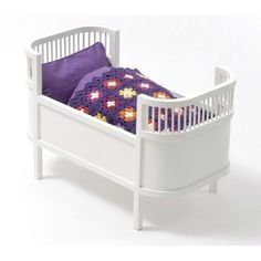 The Rosaline doll bed is based on the iconic Danish child's bed. This beautiful doll bed is made of solid wood and comes complete with mattress. Now all your favourite dolls have a place to rest. Bedding shown in picture is not included. White Bedding, Linen Bedding, Bedding Sets, Small Crib, Basson, Vintage Pram, Doll Beds, Wooden Dolls, Modern Colors