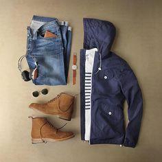 Light layers, denim, & boots. Feeling that fall fever with my friends @r.m.williams_official #myrmwilliams ____ Boots: @r.m.williams_official Gibson Boot in Tobacco Suede Jacket: @penfieldusa T-Shirt: @grayers Denim: RRL @ralphlauren Headphones: @lstnsound Sunglasses: @rayban Watch: @miansai Wallet: @ezraarthur