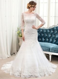 Trumpet/Mermaid Scoop Neck Court Train Tulle Lace Wedding Dress With Beading (002054364)-Sz 2-26W