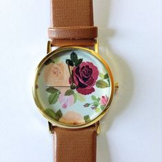 Women Watches, Leather Watch, Floral Watch, Wrist Watch, Ladies Watch, Rose Watch, Victorian, Gifts for Her, Mother Sister Gift, Gold Ships Worldwide Type: Quartz Wrist Size: Adjustable from 16.75 cm to 20.75 cm (6.59 inches to 8.16 inches) Display: Analog Dial Window Material: Glass Case Material: Metal Case Diameter: 3.9 cm (1.53 inches) Case Thickness: 0.7 cm (0.27 inches) Band Material: PU Leather Band Width: 1.9 cm (0.74 inches) Band Length: 22.75 cm (8.95 inches) Band Color : tan…