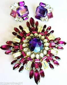 Rare STERLING SCHREINER Purple Brooch Pin Only... Cover/Book Piece Massive! in Jewelry & Watches, Vintage & Antique Jewelry, Costume, Retro, Vintage 1930s-1980s, Pins, Brooches | eBay
