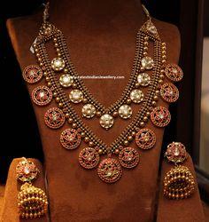 Ruby Motifs Antique Step Necklace