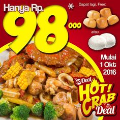 "[GoDeal's Hot Crab] Promosi super gila dari Red Crab Cafe yang selama ini sudah best-seller dish ""Red Chilli Crab"" kini hanya Rp. 98.000- per porsi. Dapat lagi free 5 mantou atau 2 nasi. Silahkan dipilih!! Hemat hingga 30% hanya dengan kupon GoDeal hanya di Red Crab Cafe. Buat reminder ya promosi start tomorrow 1 Oktober! Buruan janjian ama teman-teman nya. Super crazy promotion from Red Crab Cafe which is only Rp. 98.000- for all time best seller ""Red Chilli Crab"" alssooo you can choose…"