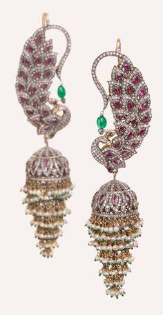 Diamond, Ruby and Emerald Peacock Jhumki Earrings I Love Jewelry, Fine Jewelry, Jewelry Design, Diamond Jewelry, Gold Jewelry, Moda Indiana, Peacock Jewelry, Peacock Earrings, Jhumki Earrings
