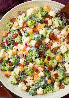 Broccoli and Cauliflower Salad {with Creamy Dressing!} - Cooking Classy Broccoli and Cauliflower Salad {with Creamy Dressing! Deli Salad Recipe, Salad Recipes, Broccoli Cauliflower Bacon Salad, Fresh Broccoli, Baked Cauliflower, Cooking Recipes, Healthy Recipes, Diet Recipes, Cooking Tv