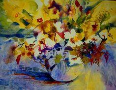 SON FLORES (Pintura),  56x76 cm por LUIS ALBERTO RUIZ ACUARELISTA Acuarela realizada con la técnica de texturas