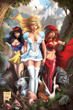 """Gfest: Sexy, Naughty & Slutty Disney Princess Comic Book Characters - Round Two"" Not DISNEY! most of the stories were written by the grim brothers, most of the stories are adaptations from the original writers! Yes Disney does how some of there own stories but this is off Disney they never did a film about red riding hood!"