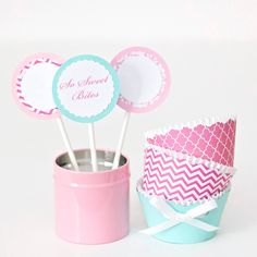 Homemade cupcake topper labels and wrappers! For ideas, tutorials and more Follow @sosweetbites on Instagram!