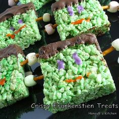 Halloween Party Food - Frankenstein rice krispie treats