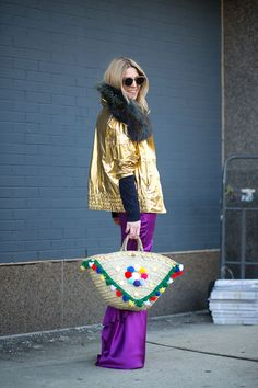 New York Fashion Week street style, Fall 2015.