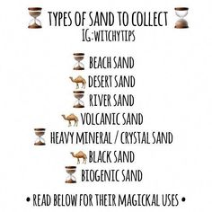 ✨ Beach Sand: used for calming or anxiety spells to wash away and smooth out fear and negativity, sp - witchytips Green Witchcraft, Magick Spells, Wiccan Witch, Wicca Witchcraft, Grimoire Book, Witchcraft For Beginners, Witch Board, Baby Witch, Eclectic Witch
