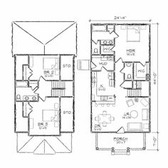 "tiny house floor plans | Ashleigh III Bungalow Floor Plan [ House Plans : 24'4"" x 51'0 ..."