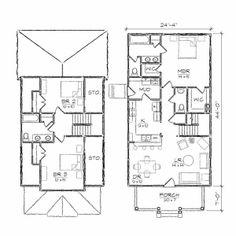 "tiny house floor plans   Ashleigh III Bungalow Floor Plan [ House Plans : 24'4"" x 51'0 ..."