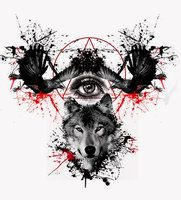 crows and wolf tattoo design by eder1985