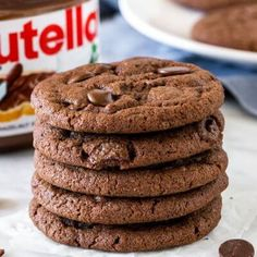 These soft and chewy Nutella cookies are filled with chocolate chips and have a delicious chocolate hazelnut flavor. Adding Nutella to your cookie dough makes for one delicious treat. from Just So Tasty Edible Cookies, Cake Mix Cookies, No Bake Cookies, Butter Cupcakes, Lemon Cupcakes, Yummy Cookies, Nutella Cookies, Oatmeal Cookies, Coconut Cookies