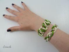 Bracelet aluminium vert olive jaune vanille doré clair par Creacile