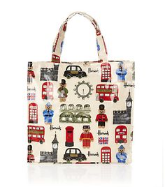 double decker bus, post box, telephone box, taxi- from London, England. A Harrods Bag! ........all things union jack