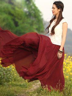 Red Chiffon, Chiffon Skirt, Windy Skirts, Maxi Skirts, Ladylike Style, Sammy Dress, What A Wonderful World, Fashion Forward, Cute Outfits