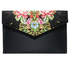 Bolso Clutch//Sobre de tela fallera valenciana roja con estampado de flores de colores.
