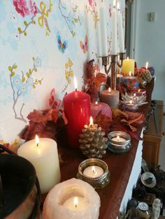 Imbolc altar. Invite the light into your home with a lot of candles.