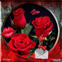 Imagen animada de rosas y corazones