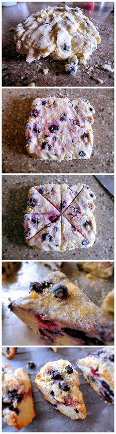Blueberry Scones -2 cups all-purpose flour 1/2 cup sugar 1 tablespoon baking powder 1 teaspoon kosher salt 1 tablespoon grated orange zest 1 stick cold unsalted butter, grated 1 large egg, lightly beaten 1/2 cup cold heavy cream 1 cup blueberries, fresh or frozen extra heavy cream for brushing the tops raw sugar for sprinkling the tops - bake 400 bake for 20 to 25 minutes, until the tops are browned and the insides are fully baked.
