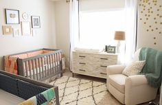 16 Alluring Neutral Baby Room Designs : Fabulous Beige Neutral Twin Baby Room Design with Grey Standart Baby Crib and Comfortable Creamy Sofa also Patterned Drawer Twin Nursery Gender Neutral, Nursery Twins, Baby Nursery Neutral, Baby Boy Nurseries, Nursery Themes, Baby Cribs, Nursery Decor, Nursery Ideas, Neutral Nurseries
