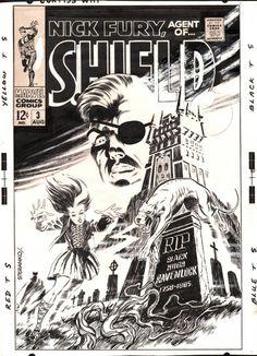 Que capa para se encontrar em uma banca, ein? Foi o que a nerdzada viu em 2/5/1968. O gibi é Nick Fury, Agent of SHIELD #3 e o desenhista [claro] é #JimSteranko [responsável pela história, Dark Moon Rise, Hell Hound Kill, arte-finalizada por Dan Adkins].