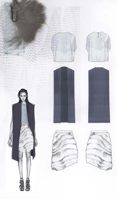 Fashion Sketchbook - fashion design drawings & textiles swatches; graduate fashion portfolio // Amy Dee