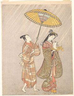 Komachi Praying for Rain  Attributed to Torii Kiyomitsu  (Japanese, 1735–1785)  Period: Edo period (1615–1868) Date: ca. 1765 Culture: Japan Medium: Polychrome woodblock print; ink and color on paper