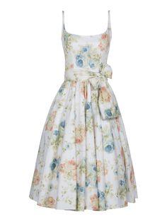 Lena Hoschek S/S 2014 Katie Dress Roses Blue retro vintage mid century midcentury rockabilly full skirt flower flowers picnic bow sundress sun dress